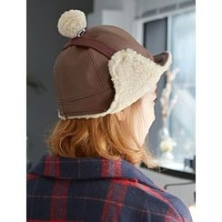 FROMBEGINNING - Pompom Faux-Leather Trapper Hat
