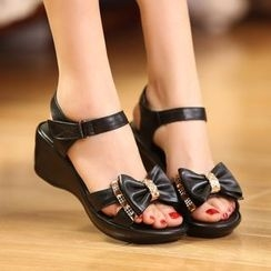 Romantina - Wedge Bow Sandals
