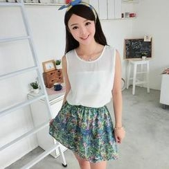59 Seconds - Set: Chiffon Sleeveless Top + Floral Print Skirt