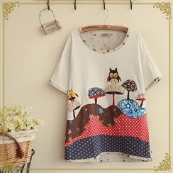 Fairyland - Owl Appliqué Embroidered Panel T-Shirt