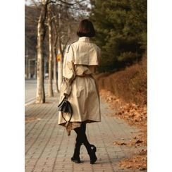 ssongbyssong - Double-Breasted Epaulette-Shoulder Trench Coat With Belt