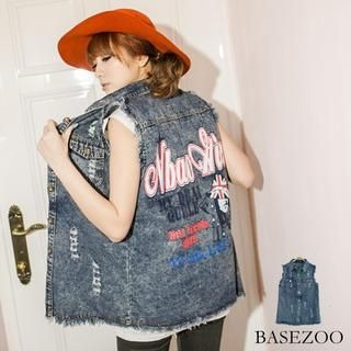 BaseZoo - Distressed Printed Denim Vest
