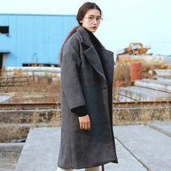 謳若緹 - 純色長款呢子大衣