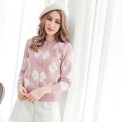 Tokyo Fashion - Flower-Pattern Knit Cardigan