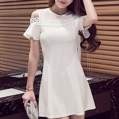 Fashion Street - Cut Out Shoulder Ruffle Sleeve A-Line Dress