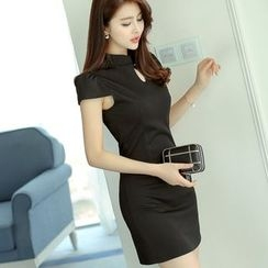Bornite - Stand Collar Short-Sleeve Sheath Dress