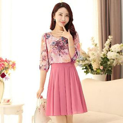 Jiuni - Elbow-Sleeve Print Chiffon Pleated Dress