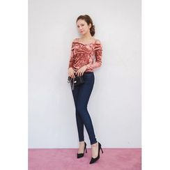 migunstyle - Cutaway-Shoulder Velvet Top