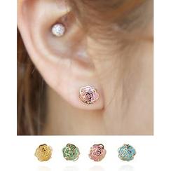 Miss21 Korea - Set of 4: Flower Stud Earrings