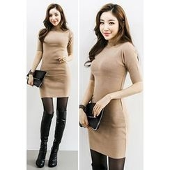 INSTYLEFIT - Mock-Neck Short-Sleeve Bodycon Knit Dress