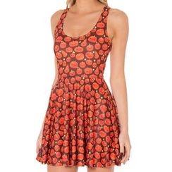 Omifa - Sleeveless Pumpkin-Print A-Line Dress