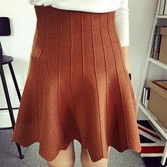 Polaris - Ruffled Hem A Line Knit Dress Skirt