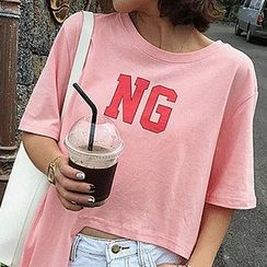 Fashion Street - Lettering Asymmetric Hem Elbow Sleeve T-Shirt