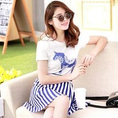 Hanee - Set: Horse-Print T-Shirt + Striped Skirt
