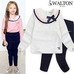 WALTON kids - Kids Set: Pleated-Detail Top + Inset Pleated Skirt Leggings