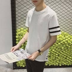 JUN.LEE - Striped-Sleeve Crewneck T-Shirt