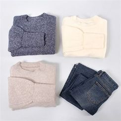 Styleberry - Crew-Neck Cuff-Sleeve Sweater