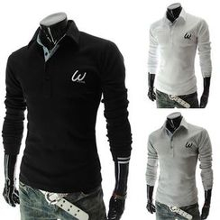 Fireon - Embroidered Long Sleeve Polo Shirt