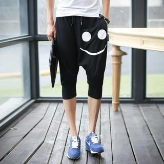 Bay Go Mall - Smiley Drawcord Cropped Harem Pants