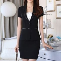 Caroe - Set: Short-Sleeve Double Button Blazer + Skirt