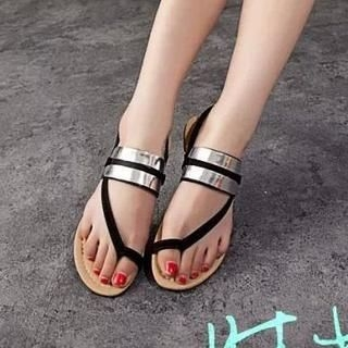 Zandy Shoes - Toe-Loop Metallic-Strap Sandals