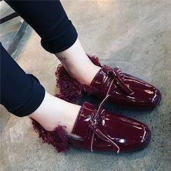 Hipsole - Faux-Fur Trim Patent Loafers