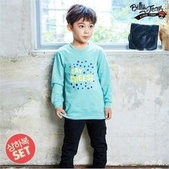 BILLY JEAN - Kids Set: Lettering Slit-Hem Top + Harem Pants