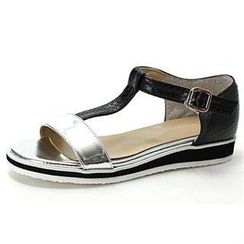 MODELSIS - Two-Tone T-Strap Sandals
