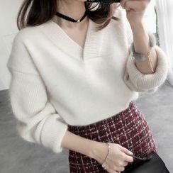 Emeline - Plain V-Neck Sweater