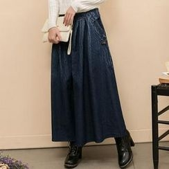 Lucky Leaf - Button-Detail Washed Denim Maxi Skirt