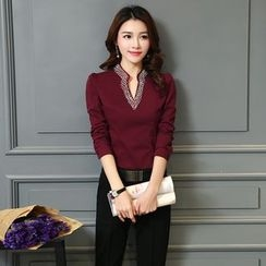 Jiuni - Embellished V-neck Long-Sleeve Blouse