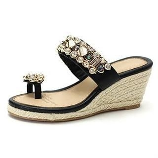 MODELSIS - Rhinestone Toe Loop Wedge Sandals