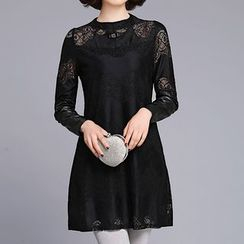 Donnae - Lace Panel Long-Sleeve Chiffon Top