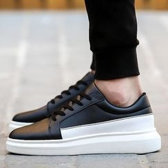 Komm - Panel Faux Leather Sneakers