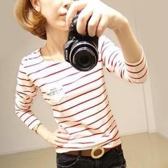 Pink Rabbit - Long-Sleeve Round-Neck Striped T-Shirt