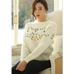 REDOPIN - Round-Neck Embroidered Knit Top
