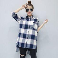Fancy Show - Long-Sleeve Check Long Shirt