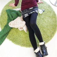 GLAM12 - Wool Blend Inset Patterned Skirt Fleece-Lined Leggings