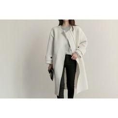 UPTOWNHOLIC - Round-Neck Zip-Detail Wool Blend Coat