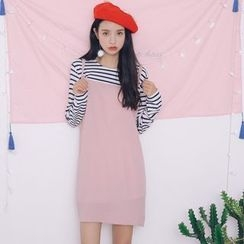Everies - Long-Sleeve Mock Two Piece Dress