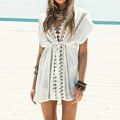 Jolly Club - Short-Sleeve Drawstring Crochet Trim Cover-up