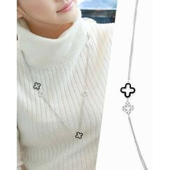 Miss21 Korea - Clover Dual-Strand Long Necklace