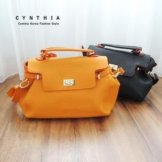 CYNTHIA - Faux-Leather Twist-Lock Satchel