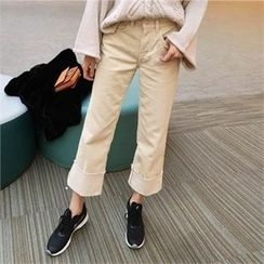 QNIGIRLS - Corduroy Wide-Leg Pants