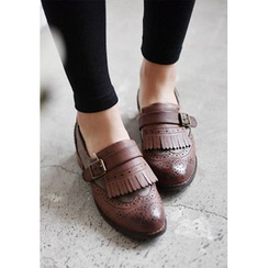 GOROKE - Wingtip Fringed Buckled Loafers