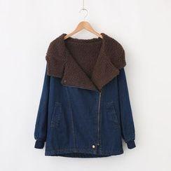 LEMONADE - Fleece-Lined Hooded Zip Denim Jacket