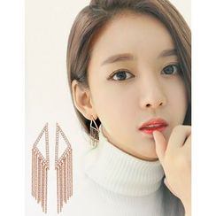 soo n soo - Rhinestone-Studded Chain Tassel Earrings
