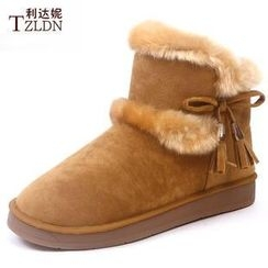 Rivari - Tasseled Bow Short Snow Boots