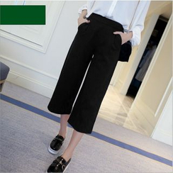 YAYAGREEN - Wide Leg Cropped Pants