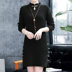 Donnae - Mandarin Collar Long-Sleeve Dress